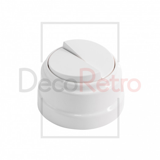 Ретро выключатель 2-клавишный, пластик, цвет: белый