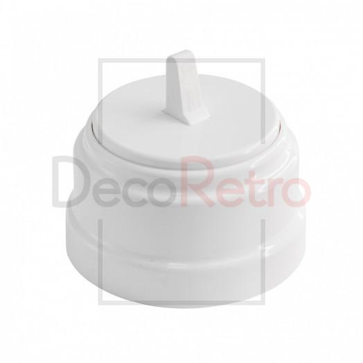 Тумблерный 1-клавишный ретро выключатель, пластик, цвет: белый