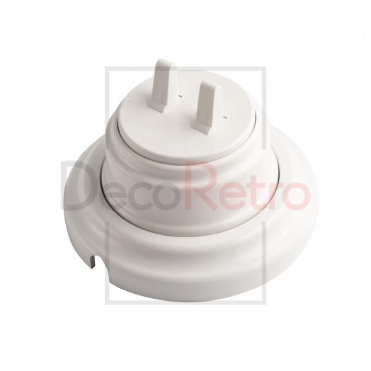 Тумблерный 2-клавишный ретро выключатель, пластик, цвет: белый