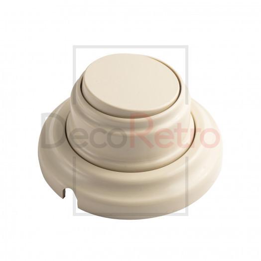 Ретро выключатель 1-клавишный проходной, пластик, цвет: слоновая кость