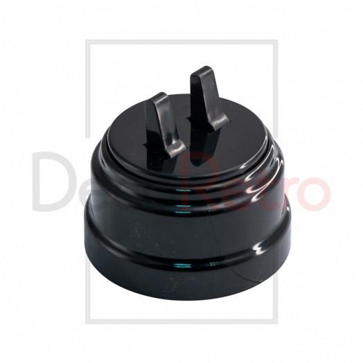 Тумблерный 2-клавишный ретро выключатель, пластик, цвет: черный