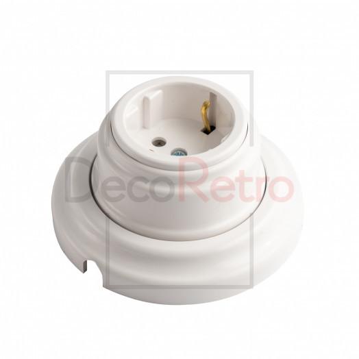 Ретро розетка с зазем.контактом, 16А-250 В, пластик, цвет: белый