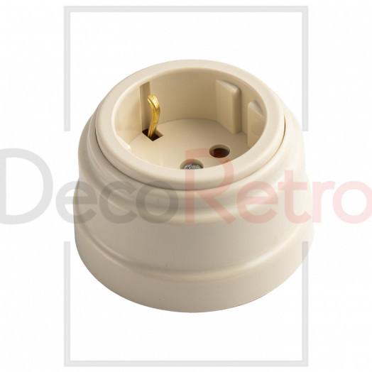 Ретро розетка с зазем.контактом, 16А-250 В, пластик, цвет: слоновая кость