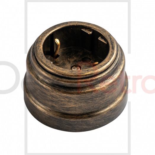 Ретро розетка с зазем.контактом, 16А-250 В, пластик, цвет: бронза
