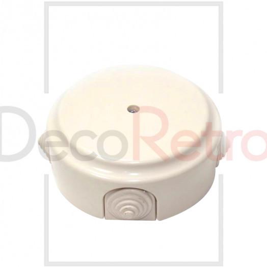 Распределительная коробка D80 мм (с каб.вводами), пластик, цвет: слоновая кость
