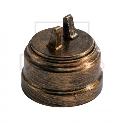 Тумблерный 2-клавишный ретро выключатель, пластик, цвет: бронза
