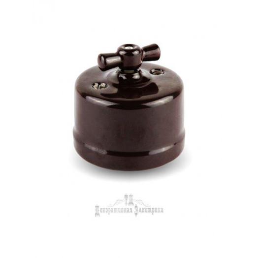Выключатель для открытого монтажа Retrika, цвет: коричневый