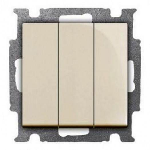 Выключатель трёхклавишный ABB Basic 55, слоновая кость