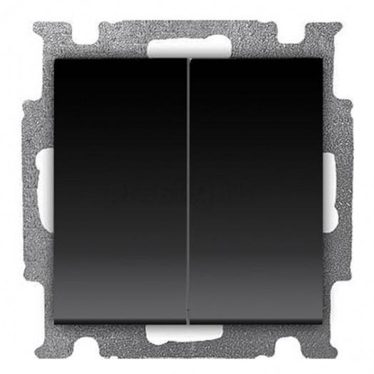 Переключатель двухклавишный ABB Basic 55, Chateau-Black