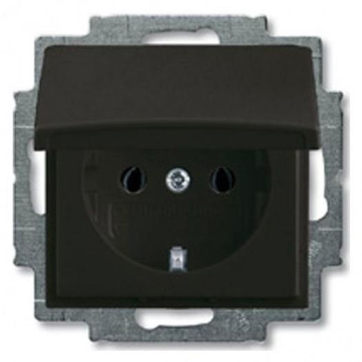 Розетка ABB Basic 55, с крышкой, цвет: Chateau-Black