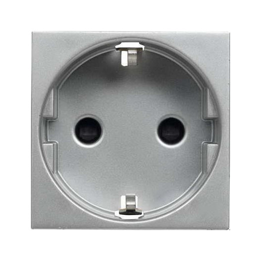 Розетка с заземлением с безвинтовыми контактами, со шторками ABB Zenit, цвет: серебристый