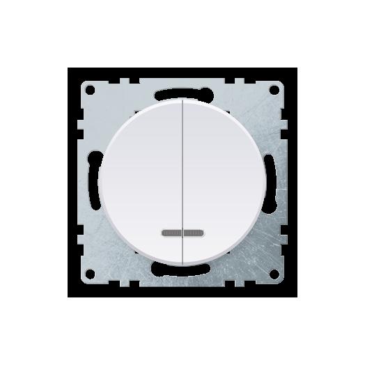 Выключатель двухклавишный OneKey с подсветкой, цвет белый