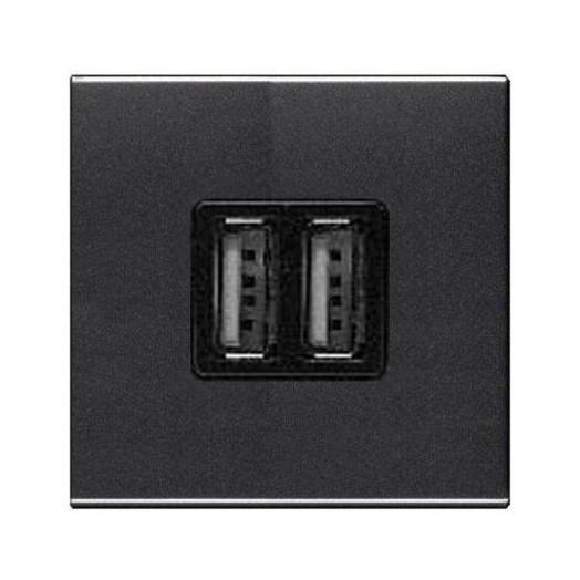 Розетка USB двойная для зарядки 2x750 МА/1Х1500 МА, ABB Zenit, цвет: антрацит