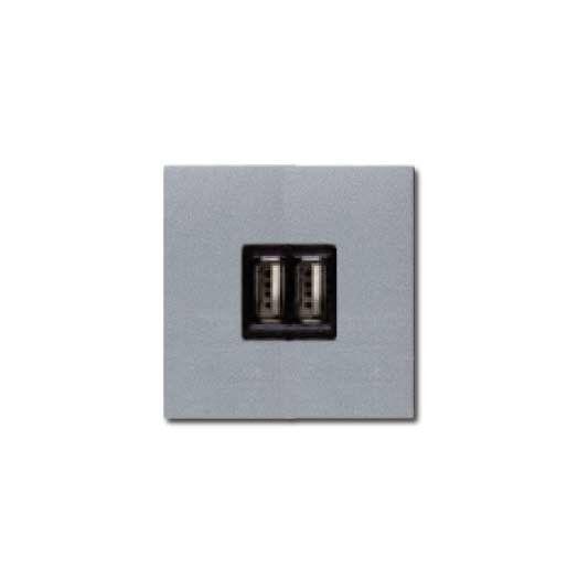 Розетка USB двойная для зарядки 2x750 МА/1Х1500 МА, ABB Zenit, цвет: серебристый