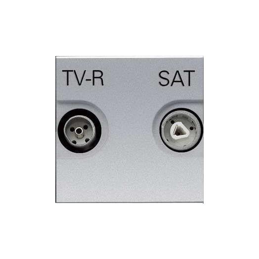 Розетка TV-R/SAT оконечная ABB Zenit, цвет: серебристый