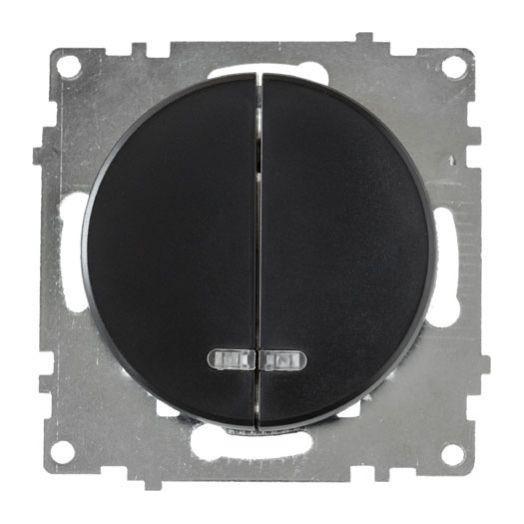 Выключатель двухклавишный OneKey с подсветкой, цвет чёрный