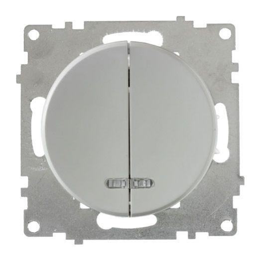 Выключатель двухклавишный OneKey с подсветкой, цвет серый