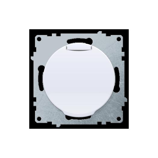 Розетка с крышкой OneKey с заземлением, винтовые контакты, цвет белый