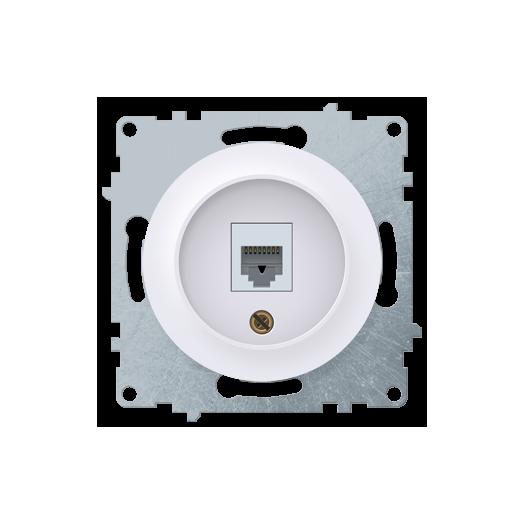 Розетка компьютерная OneKey 1xRJ45 кат.5e, цвет белый