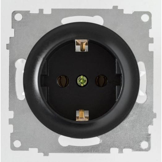Розетка OneKey с заземлением, винтовые контакты, цвет чёрный
