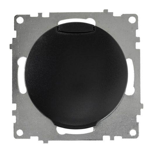 Розетка с крышкой OneKey с заземлением, винтовые контакты, цвет чёрный