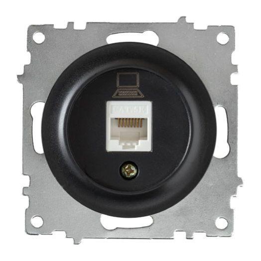Розетка компьютерная OneKey 1xRJ45 кат.5e, цвет чёрный