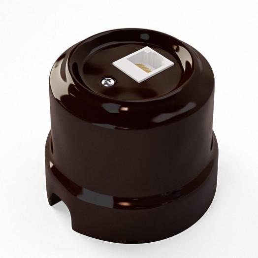 Розетка компьютерная RJ-45 Lindas, цвет: коричневый