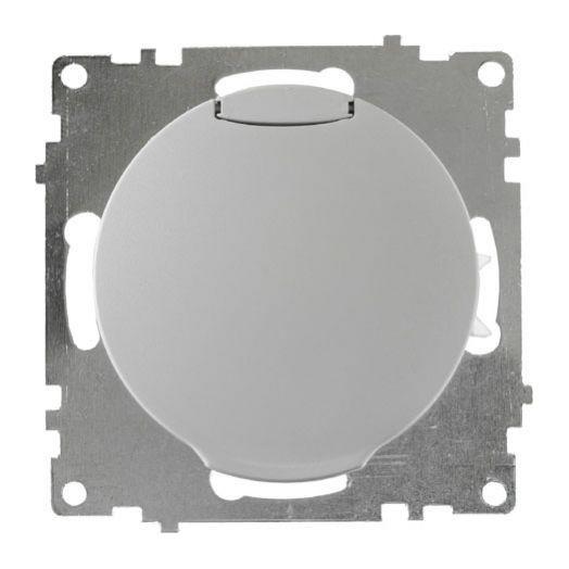 Розетка с крышкой OneKey с заземлением, винтовые контакты, цвет серый
