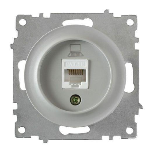 Розетка компьютерная OneKey 1xRJ45 кат.5e, цвет серый