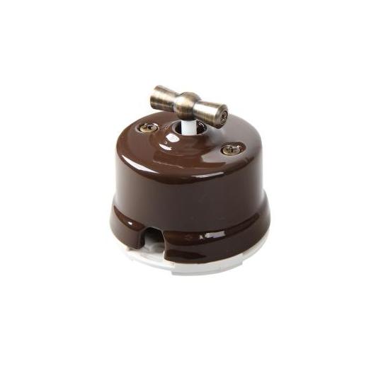 Выключатель поворотный Salvador, цвет: коричневый